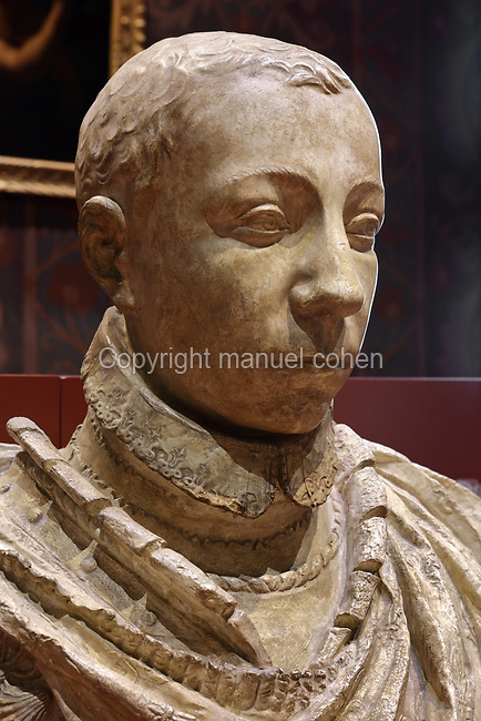 Bust of Charles IX, made in 1563 in plaster, after Germain Pilon, 1525-90, in the Salle des Valois, with collections belonging to the Valois, especially Francois I, on the first floor of the Francois I wing, built early 16th century in Italian Renaissance style, at the Chateau Royal de Blois, built 13th - 17th century in Blois in the Loire Valley, Loir-et-Cher, Centre, France. The sculpture was acquired in 1926 by the Musee des Beaux-Arts de la Ville de Blois. The chateau has 564 rooms and 75 staircases and is listed as a historic monument and UNESCO World Heritage Site. Picture by Manuel Cohen