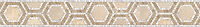 """5 1/2"""" Honeycomb border, a hand-cut mosaic shown in polished Breccia Oniciata, Calacatta Tia, and honed Creme Brulee by New Ravenna."""