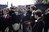 "Pupils wait before the Annual Speech Day ""School Bill"" parade at Harrow School"
