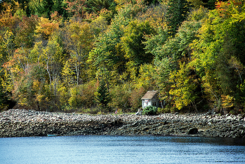Isolated coastal shack, Maine, USA
