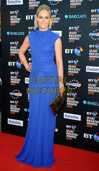 Georgie Twigg.Attending the BT Sport Industry Awards at Battersea Evolution, London, England, UK, May 2nd 2013..full length blue dress cobalt high neck sleeveless hand on hip long maxi ruched  clutch bag .CAP/PP/GM.©Gary Mitchell/PP/Capital Pictures