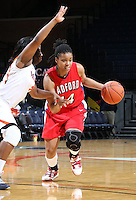 Dec. 6, 2010; Charlottesville, VA, USA; Radford Highlanders guard Victoria Hamilton (14) drives past /Virginia Cavaliers guard Paulisha Kellum (3) at the John Paul Jones Arena.  Mandatory Credit: Andrew Shurtleff