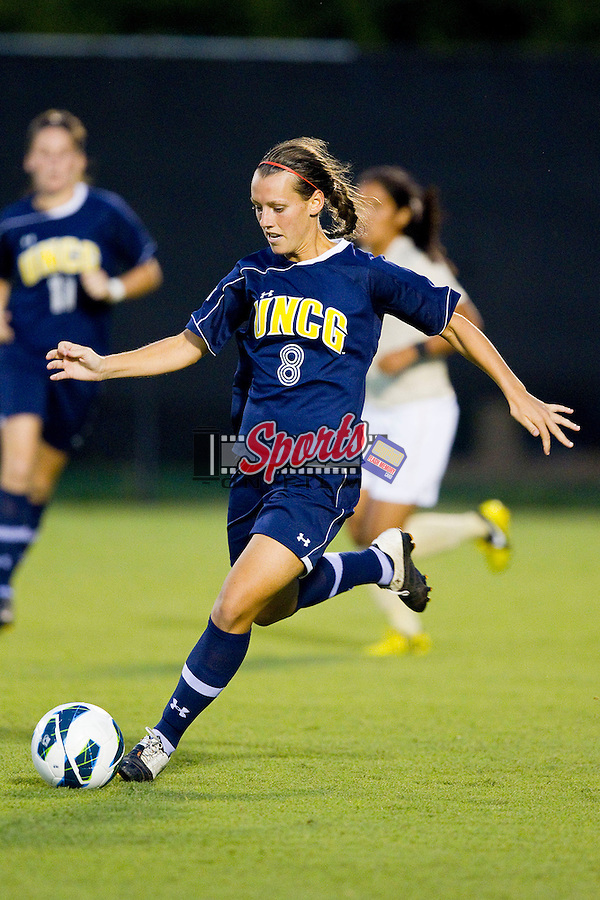 Stephanie Partenheimer (8) of the UNCG Spartans controls the ball during second half action against the Wake Forest Demon Deacons at Spry Soccer Stadium on August 24, 2012 in Winston-Salem, North Carolina.  The Spartans defeated the Demon Deacons 1-0.  (Brian Westerholt / Sports On Film)