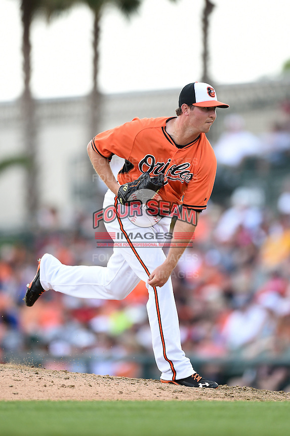 Baltimore Orioles pitcher Zach Britton (53) during a spring training game against the Pittsburgh Pirates on March 23, 2014 at Ed Smith Stadium in Sarasota, Florida.  Baltimore and Pittsburgh tied 7-7.  (Mike Janes/Four Seam Images)