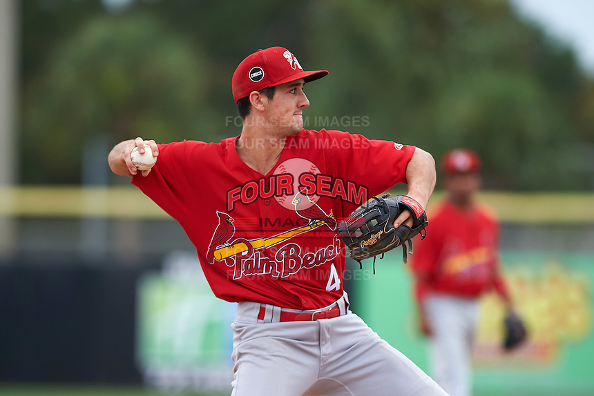 Palm Beach Cardinals third baseman Danny Diekroeger (4) throws to first during the first game of a doubleheader against the Dunedin Blue Jays on August 2, 2015 at Florida Auto Exchange Stadium in Dunedin, Florida.  Palm Beach defeated Dunedin 4-1.  (Mike Janes/Four Seam Images)