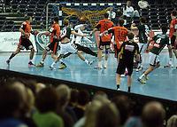 Handball 2. Bundesliga Herren - SC DHfK gegen HC Erlangen am 05.11.2013 in Leipzig (Sachsen). <br /> IM BILD: Tor f&uuml;r den SC DHfK.<br /> Foto: Norman Rembarz / aif