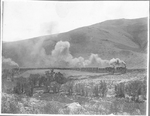 C&amp;S double-headed freight train with a pusher as well.  A rather distant view.<br /> C&amp;S