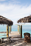 EXUMA, Bahamas. A dock of one the Villas at the Fowl Cay Resort.