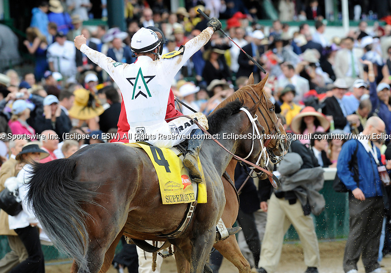 10 May 1: Super Saver (no. 4), ridden by Calvin Borel and trained by Todd Platcher, wins the 136th running of the grade 1 Kentucky Derby for three year olds at Churchill Downs in Louisville, Kentucky.