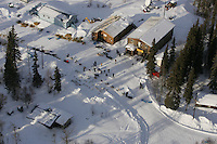 Ray Redington Jr. and Ramey Smyth check in at the Anvik checkpoint in this aerial view.  2005 Iditarod Trail Sled Dog Race.