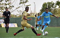 MONTERIA - COLOMBIA, 07-04-2019: Harrison Mojica de Jaguares disputa el balón con Jerson Malagon de Rionegro durante partido por la fecha 14 de la Liga Águila I 2019 entre Jaguares de Córdoba F.C. y Rionegro Águilas jugado en el estadio Jaraguay de la ciudad de Montería. / Harrison Mojica of Jaguares struggles the ball with Jerson Malagon of Rionegro during match for the date 14 as part Aguila League I 2019 between Jaguares de Cordoba F.C. and Rionegro Aguilas played at Jaraguay stadium in Monteria city. Photo: VizzorImage / Andres Felipe Lopez / Cont