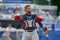 Mahoning Valley Scrappers catcher Jason Rodriguez (20) throws to first base during the second game of a doubleheader against the Batavia Muckdogs on September 4, 2017 at Dwyer Stadium in Batavia, New York.  Mahoning Valley defeated Batavia 6-2.  (Mike Janes/Four Seam Images)