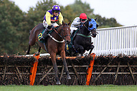 Wom ridden by Trevor Whelan in jumping action during the Cruso and Wilkin Conditional Jockeys Selling Handicap Hurdle