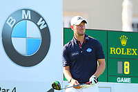 Chris Wood prepares to tee off from the clubhouse #1 tee during the BMW PGA Golf Championship at Wentworth Golf Course, Wentworth Drive, Virginia Water, England on 25 May 2017. Photo by Steve McCarthy/PRiME Media Images.