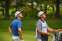 Rory McIlroy (NIR) and his caddie watch Justin Thomas' (USA) shot from the trap fly overhead on 2 during 4th round of the World Golf Championships - Bridgestone Invitational, at the Firestone Country Club, Akron, Ohio. 8/5/2018.<br /> Picture: Golffile | Ken Murray<br /> <br /> <br /> All photo usage must carry mandatory copyright credit (© Golffile | Ken Murray)