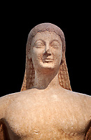 Naxian marble Ancient Greek Archaic statue of a kouros, found in Melos, circa 550 BC, Athens National Archaeological Museum. Cat no 1558.  Against black<br /> <br /> The slenderness and delicate grace of the statue is typical of the Cctladic island of