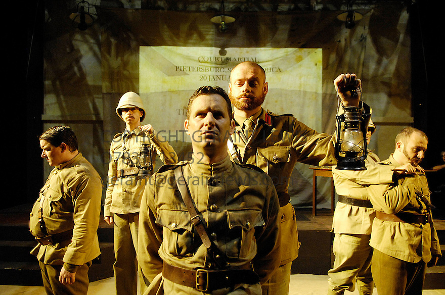 Breaker Morant by K G Moss, directed by Phil Nichol and Tom Daley. With Adam Hills as Breaker Morant ,Heath Franklyn[far left],Brendon Burns [far right] Performing at the Underbelly at The Edinburgh Festival 2007 CREDIT Geraint Lewis