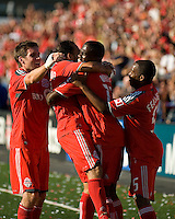 12 September 2009: Toronto FC players celebrate O'Brian White's goal during MLS action at BMO Field Toronto in a game between Colorado Rapids and Toronto FC. .Toronto FC won 3-2..