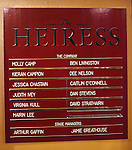 Cast Board for the Broadway Opening Night Performance Curtain Call for 'The Heiress' at The Walter Kerr Theatre on 11/01/2012 in New York.