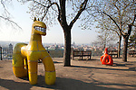 Children's playground in Letna Park, a public park with panoramic  views of Prague, Czech Republic, Europe