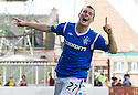 RANGERS' GREGG WYLDE CELEBRATES AFTER HE SCORES RANGERS' THIRD