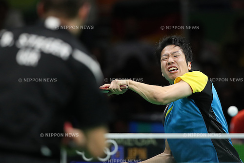 Jun Mizutani (JPN), <br /> AUGUST 15, 2016 - Table Tennis : <br /> Men's Team Semi-final at Riocentro - Pavilion 3 <br /> during the Rio 2016 Olympic Games in Rio de Janeiro, Brazil. <br /> (Photo by Koji Aoki/AFLO SPORT)