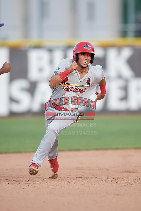 Johnson City Cardinals center fielder Jonatan Machado (51) runs the bases during the first game of a doubleheader against the Princeton Rays on August 17, 2018 at Hunnicutt Field in Princeton, Virginia.  Johnson City defeated Princeton 6-4.  (Mike Janes/Four Seam Images)
