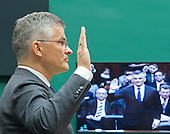 """Michael Horn, President and CEO of Volkswagen Group of America, is sworn-in to testify before the United States House Energy and Commerce Committee's Oversight and Investigations Subcommittee on """"Volkswagen's Emissions Cheating Allegations: Initial Questions"""" on Capitol Hill in Washington, DC on Thursday, October 8, 2015.<br /> Credit: Ron Sachs / CNP"""