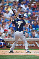 Milwaukee Brewers outfielder Logan Schafer (7) at bat during a game against the Chicago Cubs on August 13, 2015 at Wrigley Field in Chicago, Illinois.  Chicago defeated Milwaukee 9-2.  (Mike Janes/Four Seam Images)