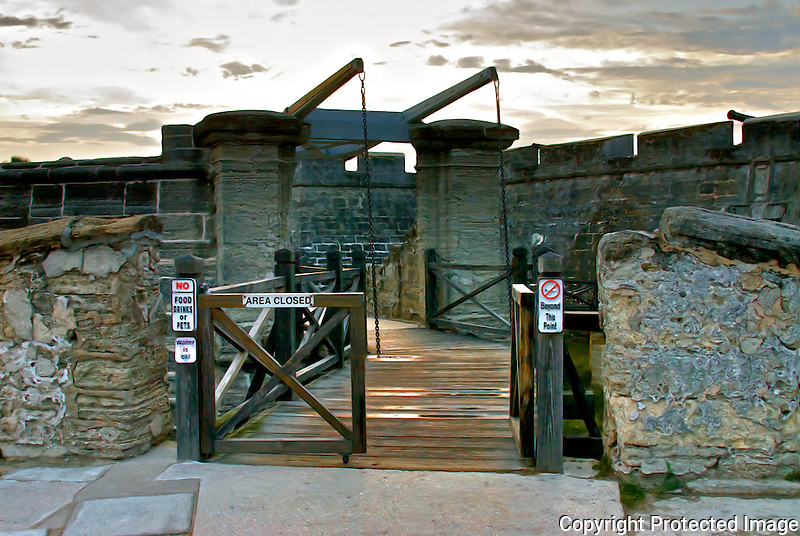 Drawbridge to the Castillo de San Marcos National Monument on a cloudy spring in downtown St. Augustine, Florida