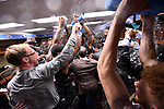 GREENVILLE, SC - MARCH 19: The University of South Carolina team celebrates in the locker room after defeating Duke University during the 2017 NCAA Men's Basketball Tournament held at Bon Secours Wellness Arena on March 19, 2017 in Greenville, South Carolina. (Photo by John Joyner/NCAA Photos via Getty Images)