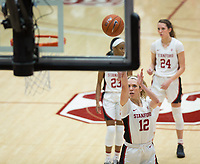 Stanford, CA - January 24, 2020: Lexie Hull, Kiana Williams, Lacie Hull at Maples Pavilion. The Stanford Cardinal defeated the Colorado Buffaloes in overtime, 76-68.