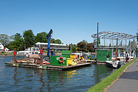 Henley on Thames. United Kingdom.   Piling Equipment moored with the box frames on deck. Right, Floating, Grandstand Positioned, Thursday  17/05/2018<br /> <br /> [Mandatory Credit: Peter SPURRIER:Intersport Images]<br /> <br /> LEICA CAMERA AG  LEICA Q (Typ 116)  f5  1/1000sec  35mm  42.5MB