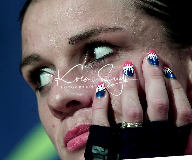 OS 2000 Sydney. Leontien van Morsel tna de finale van de puntenkoers waarbij ze zilver won.