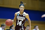 22 March 2015: Mississippi State's Kendra Grant. The Duke University Blue Devils hosted the Mississippi State University Bulldogs at Cameron Indoor Stadium in Durham, North Carolina in a 2014-15 NCAA Division I Women's Basketball Tournament second round game. Duke won the game 64-56.