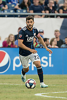 FOXBOROUGH, MA - JULY 27:  Carles Gil #22 advances in the midfield at Gillette Stadium on July 27, 2019 in Foxborough, Massachusetts.