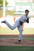 Salt Lake Bees starting pitcher Simon Mathews (3) follows through on his delivery during a Pacific Coast League game against the Fresno Grizzlies at Chukchansi Park on May 14, 2018 in Fresno, California. Fresno defeated Salt Lake 4-3. (Zachary Lucy/Four Seam Images)