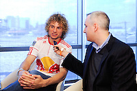 Stephen Keel (26) of the New York Red Bulls is interviewed on Media Day at Red Bull Arena in Harrison, NJ, on March 15, 2011.