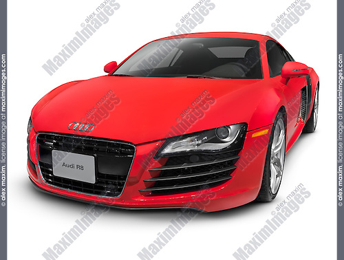 Red Audi R Super Car Isolated Stock Photo Fashion Commercial - Audi r8 commercial