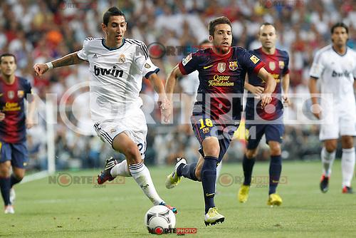 Real Madrid's Angel di Maria and F.C. Barcelona's Jordi Alba during Spanish Supercup 2nd match on august 29 2012...Photo: Alex Cid-Fuentes / ALFAQUI /NortePhoto.com<br /> <br /> **CREDITO*OBLIGATORIO** <br /> *No*Venta*A*Terceros*<br /> *No*Sale*So*third*<br /> *** No*Se*Permite*Hacer*Archivo**<br /> *No*Sale*So*third*