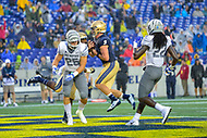 Annapolis, MD - September 8, 2018: Navy Midshipmen wide receiver Zach Abey (9) scores the game winning touchdown during game between Memphis and Navy at  Navy-Marine Corps Memorial Stadium in Annapolis, MD. (Photo by Phillip Peters/Media Images International)