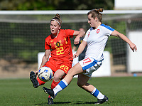 20180228 - LARNACA , CYPRUS :  Belgian Laura Deloose (left) pictured in a duel with Czech Tereza Szewieczkova (r) during a women's soccer game between The Belgian Red Flames and the Czech Republic , on wednesday 28 February 2018 at GSZ Stadium in Larnaca , Cyprus . This is the first game in group B for Belgium during the Cyprus Womens Cup , a prestigious women soccer tournament as a preparation on the World Cup 2019 qualification duels. PHOTO SPORTPIX.BE | DAVID CATRY