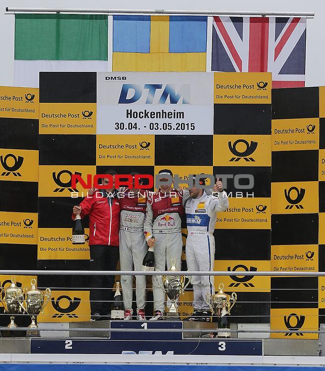 DTM 2015, 01.Lauf Hockenheimring, 01.05. - 03.05.15 <br /> Podium:<br /> Hans-J&uuml;rgen Abt (Audi), Sieger Mattias Ekstr&ouml;m (SWE#5) Audi Sport Team Abt Sportsline Audi RS 5 DTM , 2. Platz f&uuml;r Edoardo Mortara (ITA#48) Audi Sport Team Abt Audi RS 5 DTM , 3. Platz Gary Paffett (GBR#2) Euronics/BWT Mercedes-AMG C-Coup&eacute; <br /> <br /> <br /> <br /> Foto &copy; nordphoto /  Bratic