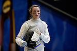 25 MAR 2016:  Ohio State's Alanna Goldie is pensive during a break during her semifinal women's foil match against Jackie Dubrovich of Columbia. The Division I Women's Fencing Championship is held at the Gosman Sports and Convention Center in Waltham, MA.   Damian Strohmeyer/NCAA Photos