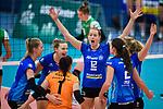 02.12.2018, Halle Berg Fidel, Muenster<br />Volleyball, Bundesliga Frauen, Normalrunde, USC MŸnster / Muenster vs. Allianz MTV Stuttgart<br /><br />Jubel Julia Schaefer (#8 Stuttgart), Paige Tapp (#17 Stuttgart), Roosa Koskelo (#1 Stuttgart), Deborah van Daelen (#12 Stuttgart), Sarah Wilhite (#2 Stuttgart), Madison Bugg (#4 Stuttgart)<br /><br />  Foto &copy; nordphoto / Kurth