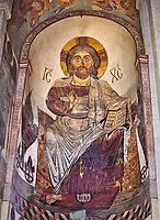Pictures & images of the interior apse fresco depicting Christ Pantocrator. The Eastern Orthodox Georgian Svetitskhoveli Cathedral (Cathedral of the Living Pillar) , Mtskheta, Georgia (country). A UNESCO World Heritage Site.<br /> <br /> Currently the second largest church building in Georgia, Svetitskhoveli Cathedral is a masterpiece of Early Medieval architecture completed in 1029 by Georgian architect Arsukisdze on an earlier site dating back toi the 4th century.