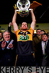 Barry Shanahan Austin Stacks captain with the Bishop Moynihan cup after winning the Kerry Senior County Football Final at Fitzgerald Stadium on Sunday.