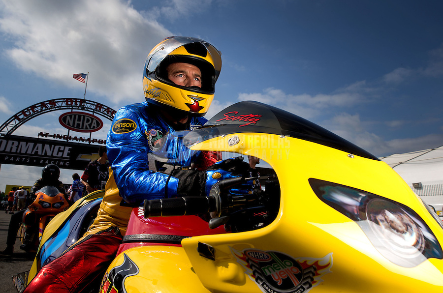 Sept. 1, 2013; Clermont, IN, USA: NHRA pro stock motorcycle rider Scotty Pollacheck during qualifying for the US Nationals at Lucas Oil Raceway. Mandatory Credit: Mark J. Rebilas-