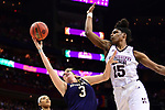 COLUMBUS, OH - APRIL 1: Marina Mabrey #3 of the Notre Dame Fighting Irish shoots around Teaira McCowan #15 of the Mississippi State Bulldogs during the championship game of the 2018 NCAA Division I Women's Basketball Final Four at Nationwide Arena in Columbus, Ohio. (Photo by Ben Solomon/NCAA Photos via Getty Images)