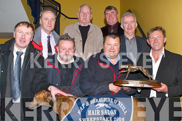 "WINNER: Champion Dog ""Clout Kelly"" winner of the Pat & Geraldine O'Neill Hair Salon Sweep Final on Saturday night, at the Kingdom Greyhound Stadium, Tralee with his owners and nominees. Front l-r: Pat Kelliher (Spa/Killarney), John O'Leary, Bill Horgan (Owner) and Pat O'Neill (Sponsor). Back l-r: John Ward (Manager), Cyril Hickey, Sean Sullivan (Chairman of Club) and Denny Doolan.   Copyright Kerry's Eye 2008"